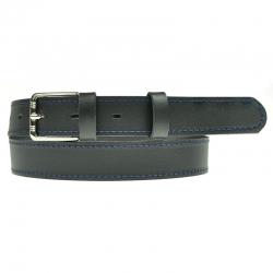 Czarny pasek do spodni z granatowym przeszyciem PS01