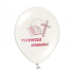 """Balony komunijne biel z różowym nadrukiem 12"""" 109R 10szt"""