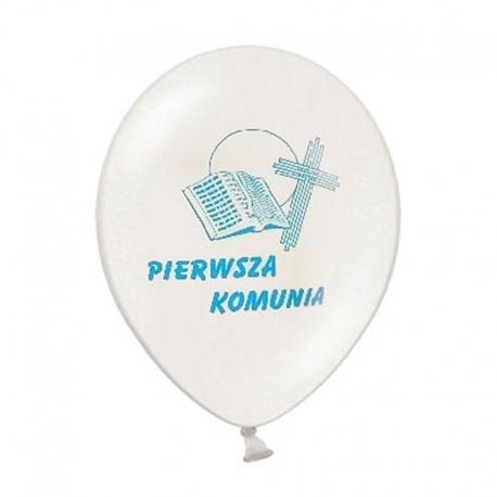 """Balony komunijne biel+niebieski 12"""" 109B 10szt"""