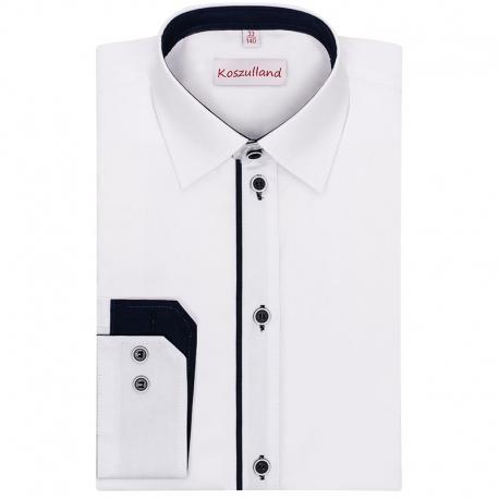 Biała koszula slimowana z granatowym paskiem KSZ04