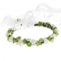 Wianek komunijny jak żywy kwiatki biało zielone WK01