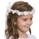 Biały wianek komunijny z kryształkami i perełkami WM36-18