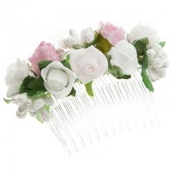 Grzebień do włosów z kwiatkami jak żywe model G23