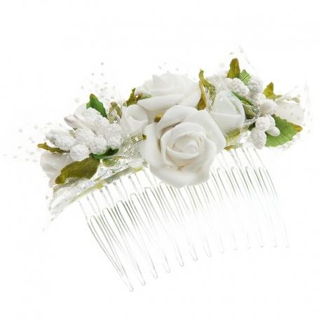 Grzebyk do włosów z kwiatuszkami jak żywe model G14