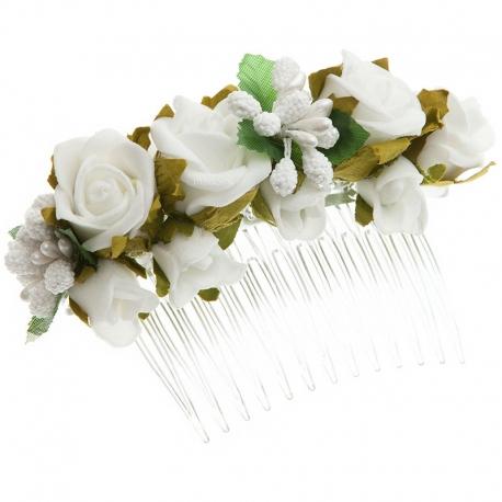 Grzebień do włosów z kwiatkami jak żywe model G26