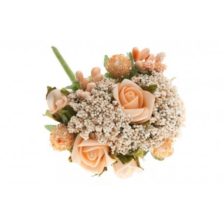 Kwiatki sztuczne piankowe brokuł bukiet łosoś