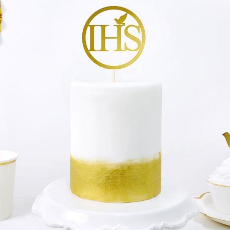 Topper na tort IHS, złoty, 22cm KPT44-019M