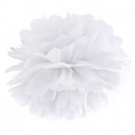 Pompon bibułowy, biały, 35cm PP35-008