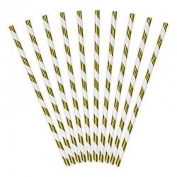 Słomki papierowe, biało złote, 19,5cm SPP1M-019