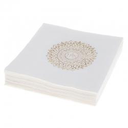 Serwetki papierowe 3 warstwowe 20 sztuk białe złoty nadruk