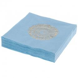 Serwetki papierowe 3 warstwowe 20szt. niebieskie złoty nadruk