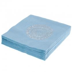 Serwetki papierowe 3 warstwowe 20szt. niebieskie srebrny nadruk