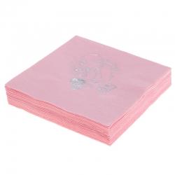 Serwetki papierowe 3 warstwowe 20szt. różowe srebrny nadruk