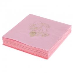 Serwetki papierowe 3 warstwowe 20szt. różowe złoty nadruk