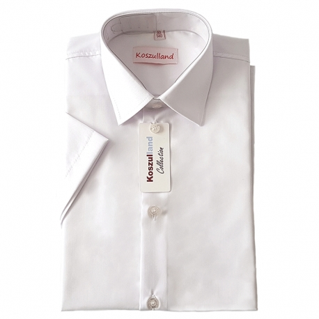 Koszula chłopięca biała slim krótki rękaw KSZ05