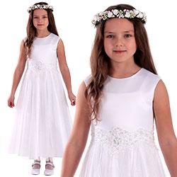 Sukienka komunijna z satyny i błyszczącym tiulem Bella