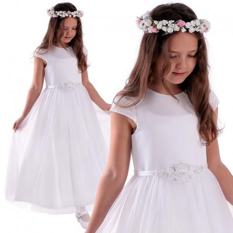 Sukienka komunijna z satyny z tiulem model Sara