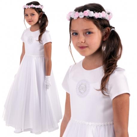 Sukienka komunijna z satyny z tiulem model Luna