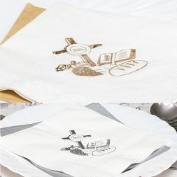 Białe serwetki papierowe z nadrukiem srebrnym i złotym SKG06